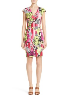 Versace Collection Print Jersey Cap Sleeve Dress
