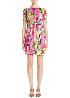Versace Collection Print Jersey Cold Shoulder Dress
