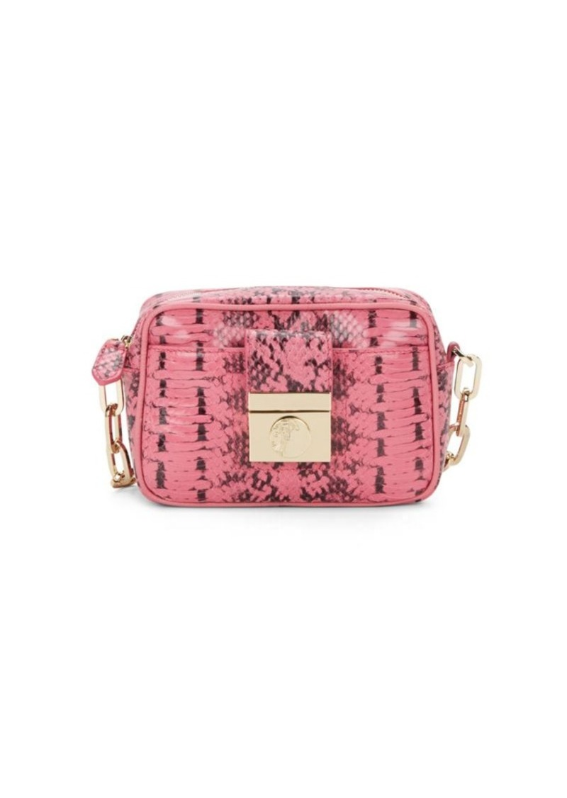 Versace Collection Reptile Embossed Leather Mini Crossbody