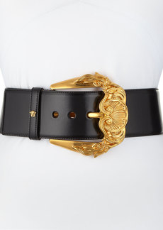 Versace Runway Wide Leather Belt w/ Golden Buckle