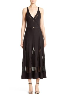 Versace Collection Sheer Inset Knit Midi Dress
