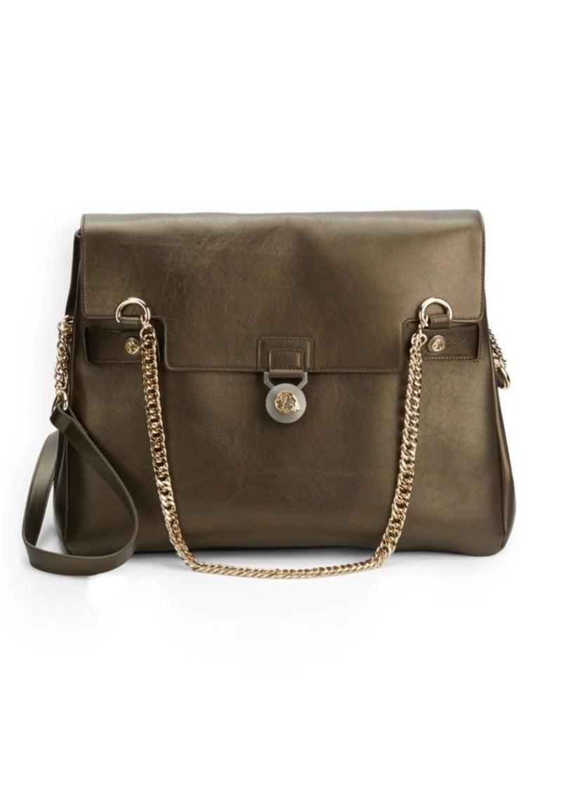 Versace Collection Solid Leather Goldtone Metal Handbag