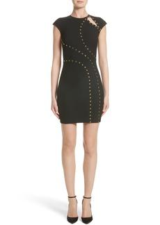 Versace Collection Studded Cap Sleeve Dress