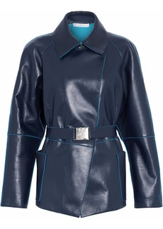 Versace Collection Woman Belted Leather Jacket Midnight Blue