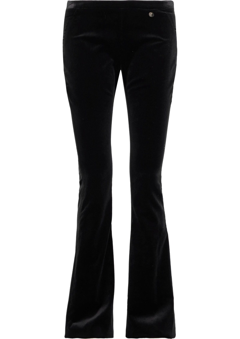 Versace Collection Woman Cotton-velvet Bootcut Pants Black