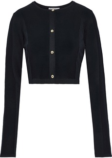 Versace Collection Woman Cropped French Terry-paneled Ribbed-knit Cardigan Black