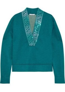 Versace Collection Woman Crystal-embellished Modal-blend Neoprene Top Teal