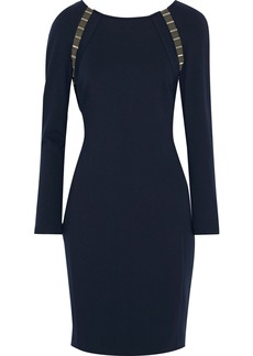 Versace Collection Woman Embellished Mesh-trimmed Stretch-jersey Dress Navy