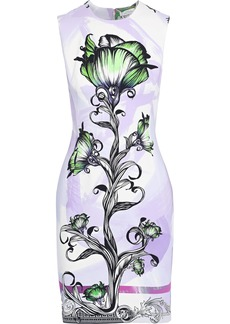 Versace Collection Woman Floral-print Cady Mini Dress Lavender