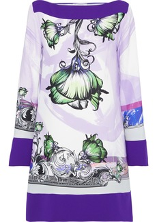 Versace Collection Woman Floral-print Crepe Mini Dress Lavender