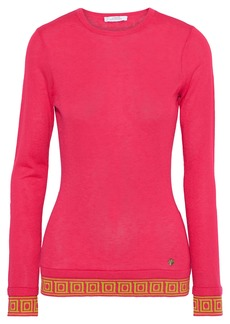 Versace Collection Woman Jacquard-trimmed Silk And Cashmere-blend Sweater Pink