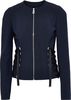 Versace Collection Woman Lace-up Cady Jacket Midnight Blue