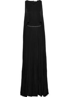 Versace Collection Woman Layered Crystal-embellished Satin-jersey Gown Black