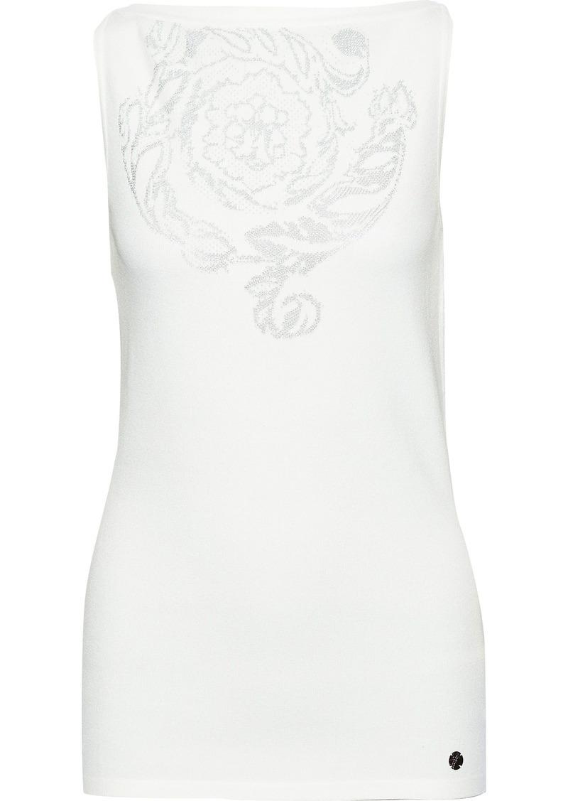 Versace Collection Woman Metallic Jacquard-knit Top White