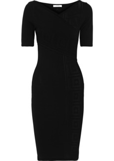 Versace Collection Woman Paneled Pointelle-knit Dress Black