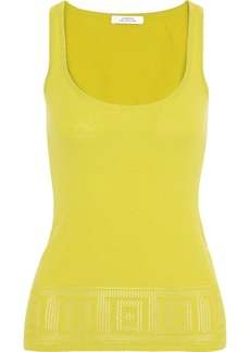 Versace Collection Woman Pointelle-knit Tank Chartreuse