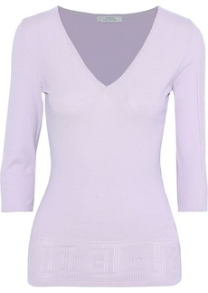 Versace Collection Woman Pointelle-knit Top Lilac
