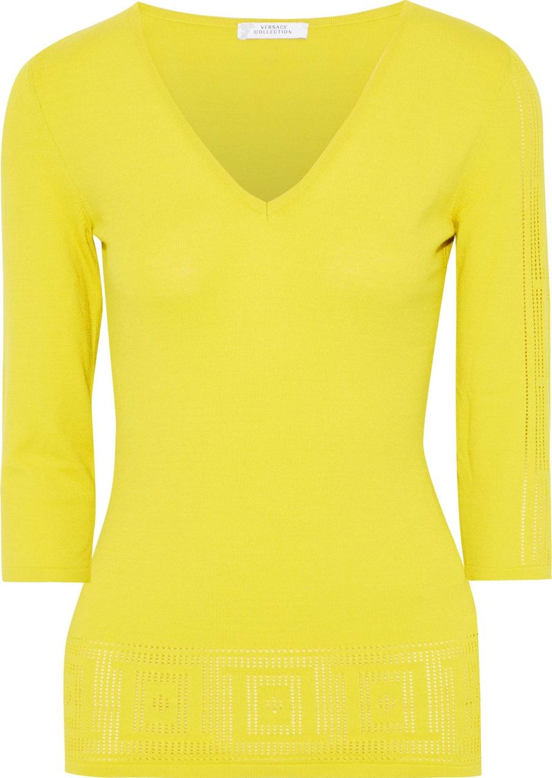 Versace Collection Woman Pointelle-knit Top Lime Green