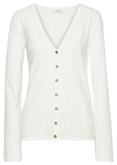 Versace Collection Woman Pointelle-trimmed Stretch-knit Cardigan Ivory