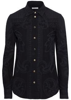 Versace Collection Woman Printed Cotton Shirt Black