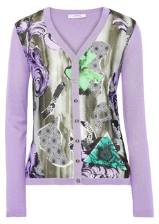 Versace Collection Woman Printed Silk And Cotton-blend Cardigan Lavender