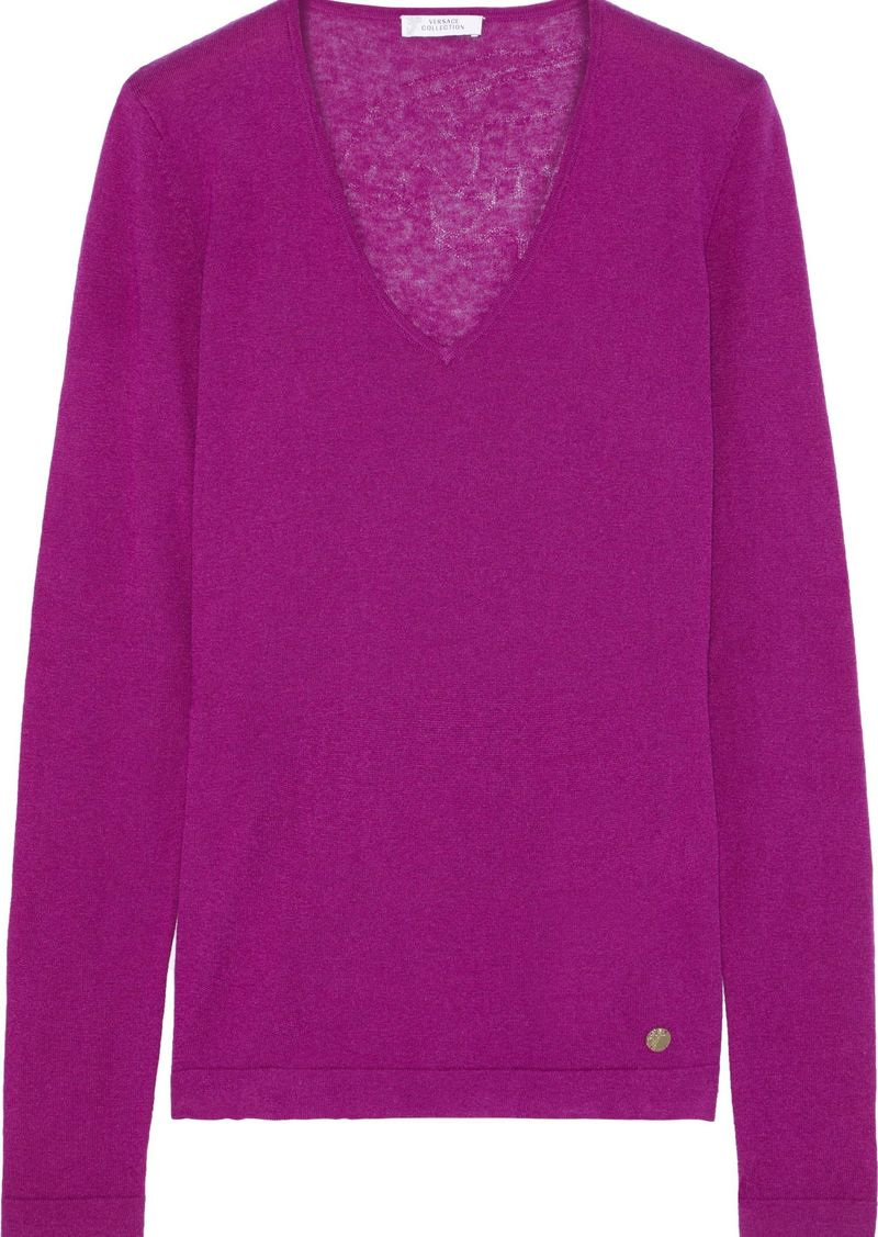Versace Collection Woman Silk And Cashmere-blend Top Magenta