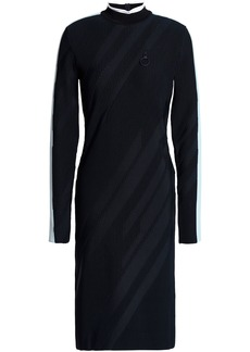 Versace Collection Woman Striped Ribbed-knit Dress Navy