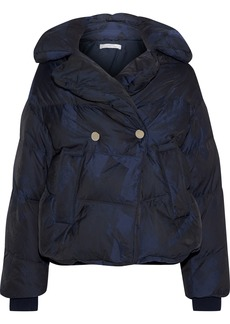 Versace Collection Woman Tie-dyed Quilted Shell Down Jacket Royal Blue