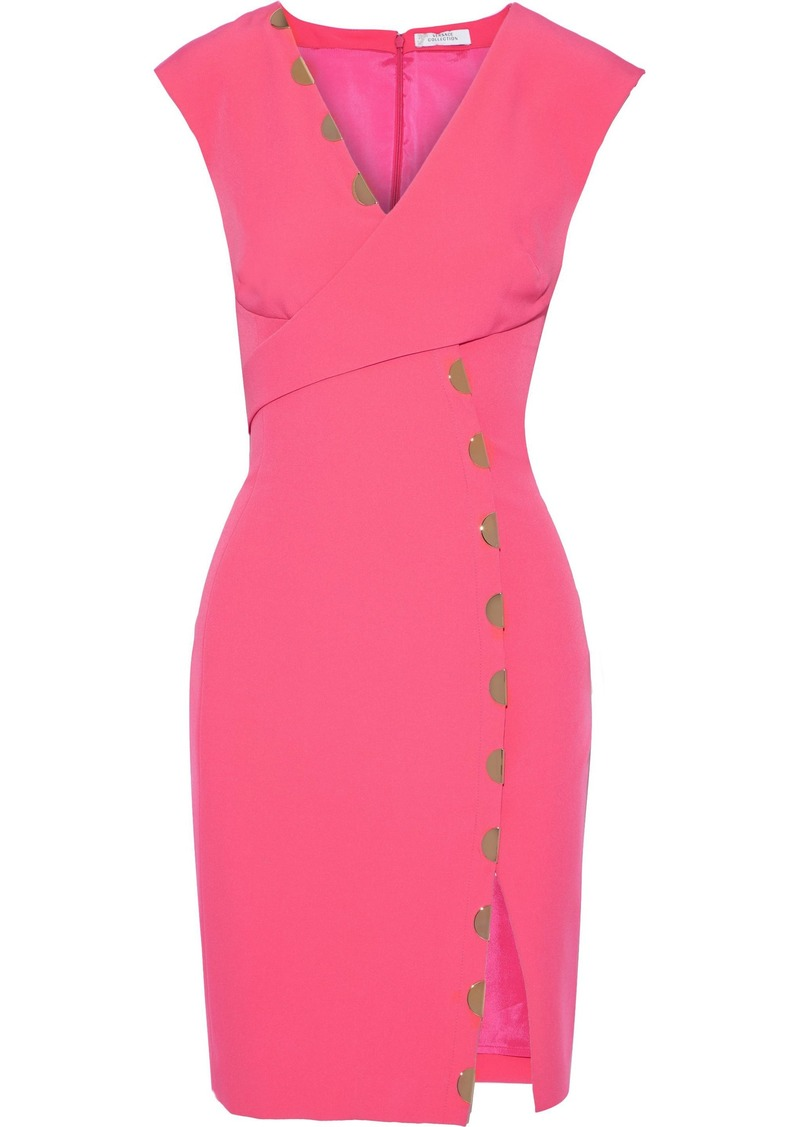 Versace Collection Woman Wrap-effect Embellished Cady Mini Dress Bubblegum