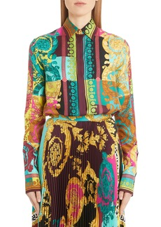 Versace Colorblock Mixed Print Silk Shirt