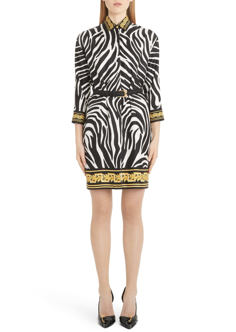 Versace Contrast Trim Zebra Print Belted Silk Shirtdress