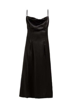 Versace Cowl-neck silk-satin slip dress