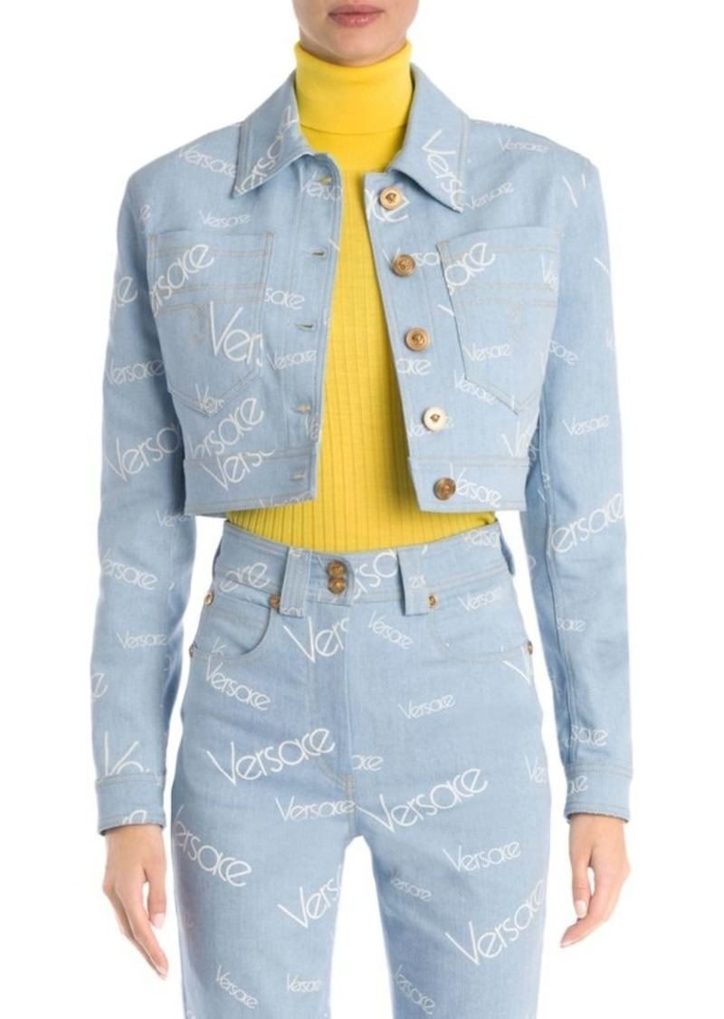 Versace Cropped Logo Denim Jacket