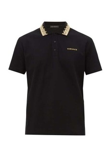 Versace Crown embroidered-collar cotton piqué polo shirt