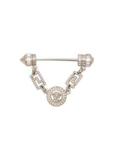 Versace Crystal-embellished Medusa head coin brooch