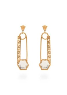 Versace Crystal-embellished safety pin drop earrings