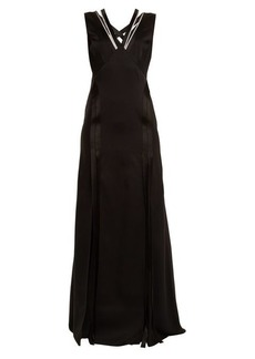 Versace Crystal-embellished V-neck satin gown