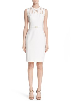 Versace Cutout Bodice Stretch Cady Sheath Dress