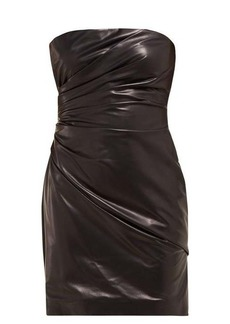 Versace Draped leather mini dress