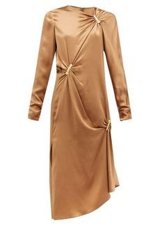 Versace Draped safety-pinned satin midi dress