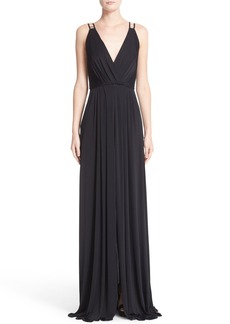 Versace Embellished Matte Jersey Gown