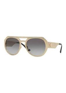Versace Embossed Metal Gradient Aviator Sunglasses