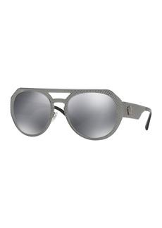 Versace Embossed Metal Mirrored Aviator Sunglasses