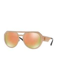 Versace Embossed Metal Mirrored Iridescent Aviator Sunglasses