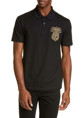 Versace Embroidered Crest Piqué Polo