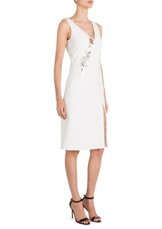 Versace Embroidered Lace-Inset Silk Cady Dress