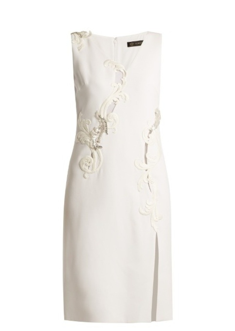 Versace Embroidered sleeveless silk-cady dress