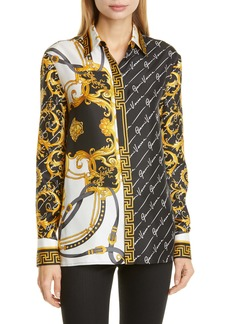 Versace First Line Barocco Gianni Signature Print Silk Blouse