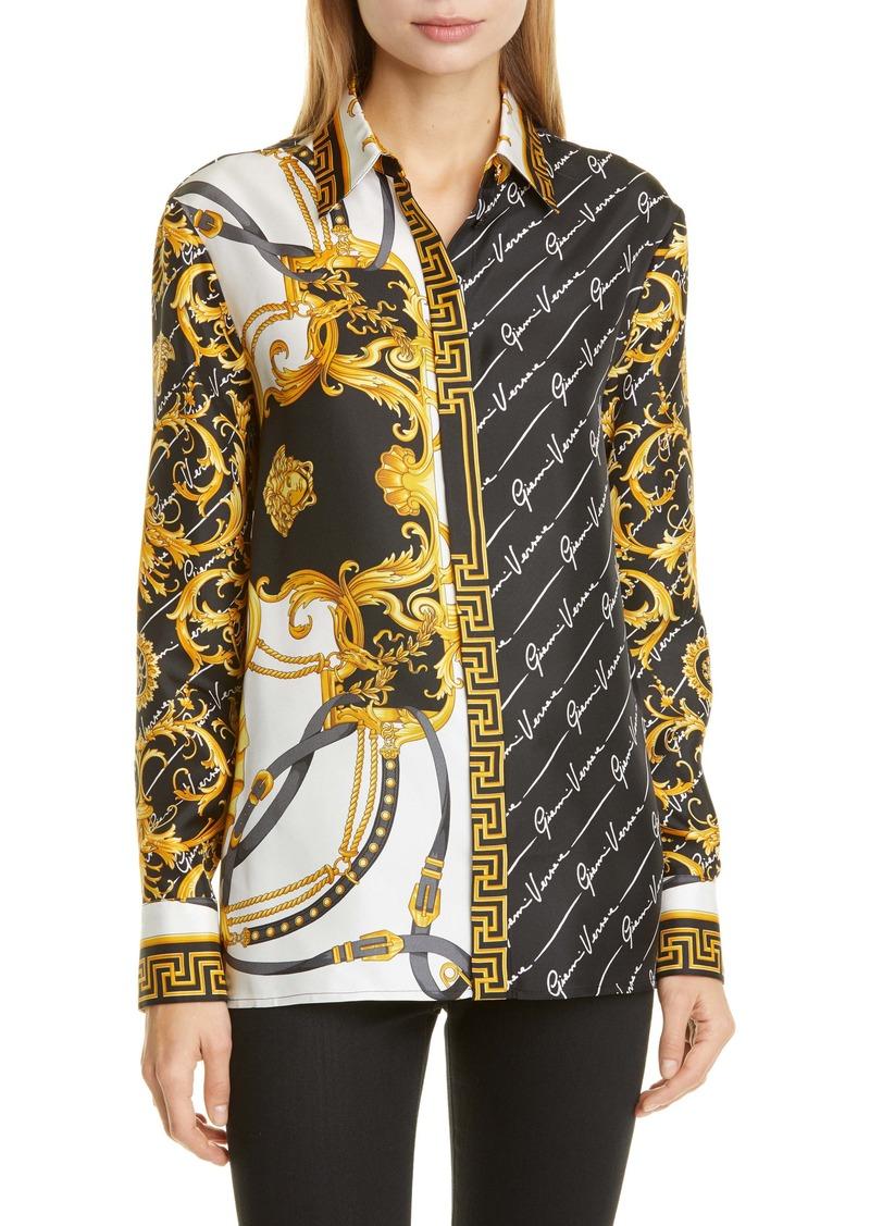 Versace Barocco Gianni Signature Print Silk Blouse