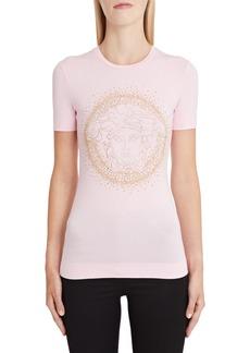 Versace First Line Embellished Medusa Logo Tee